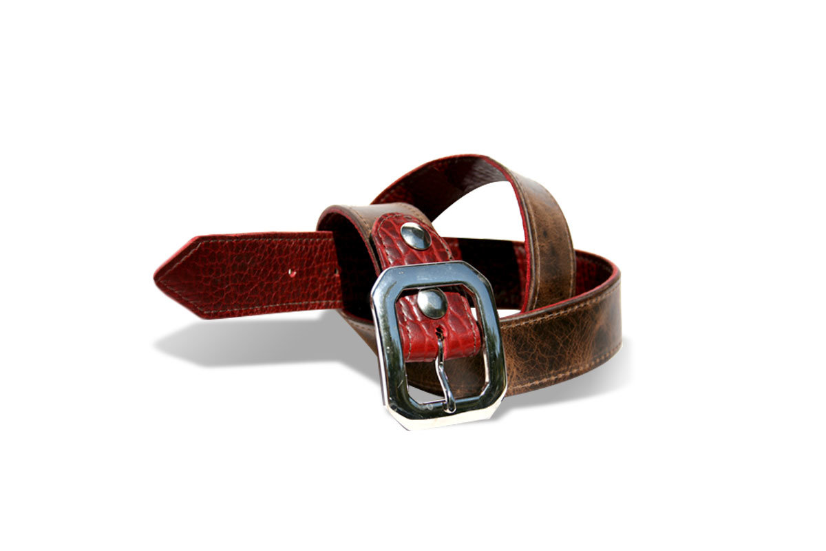 Deep Red Bison Belt Reverse to brown