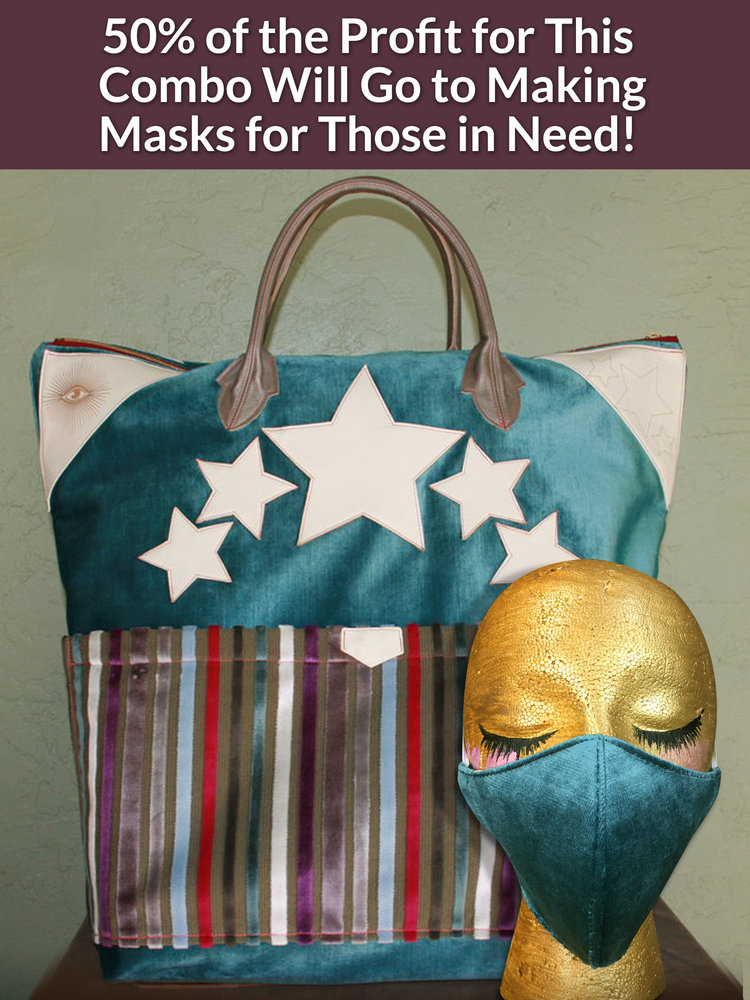 Zee Blue Velour Mask + American Style Tote