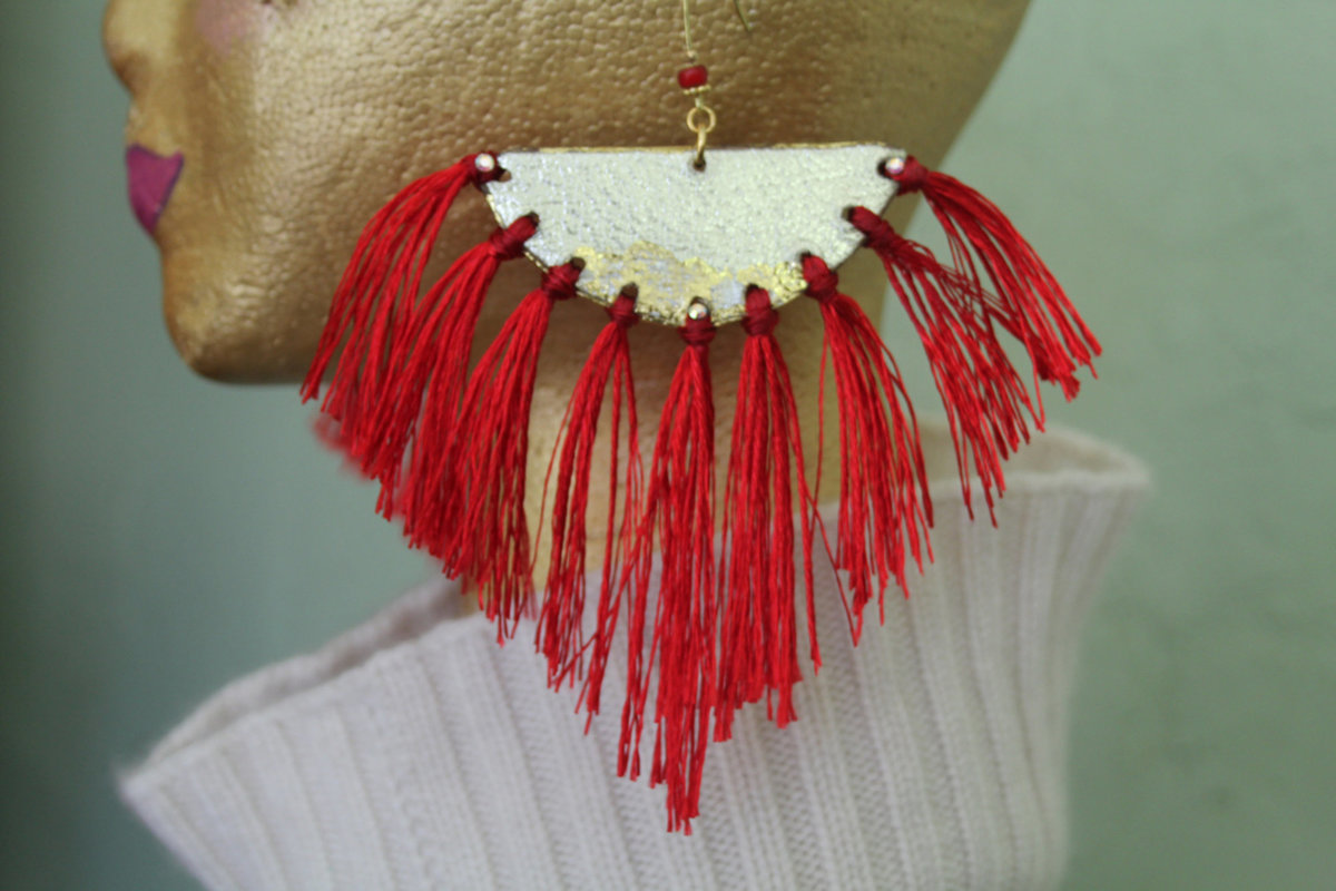 Gold with Red Fringe
